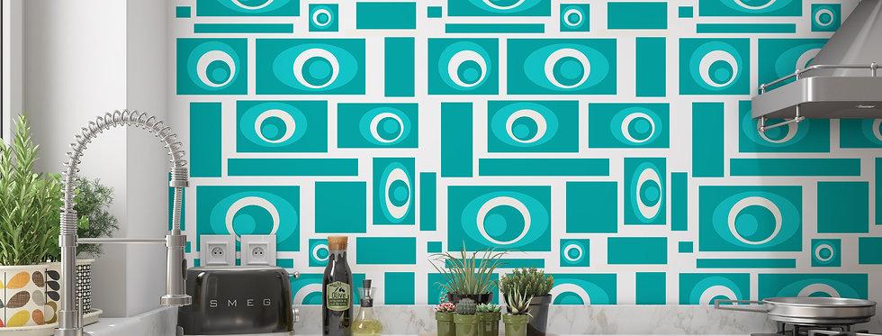 Mid Century Modern Wallpaper, Retro Wallpaper, Geometric Wallpaper ,Turquoise Wallpaper