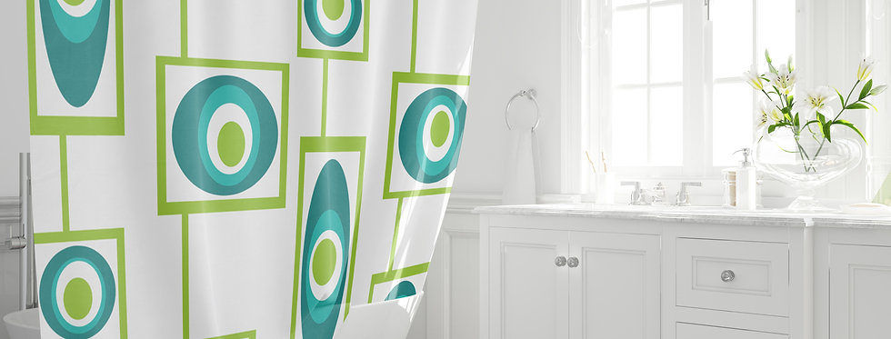 Mid Century Modern Funky Shower Curtain - Kelly