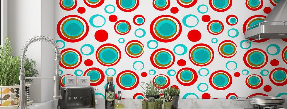 Polka Dot Mid Century Modern Wallpaper Kitchen