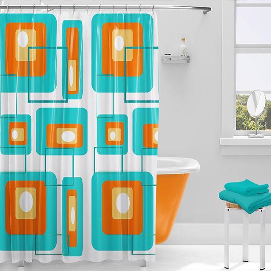mid century modern shower curtain-geometric orange and aqua shower curtain-retro geometric shower curtain