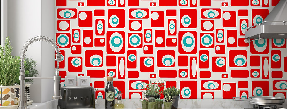Red Mid Century Modern Wallpaper Kitchen