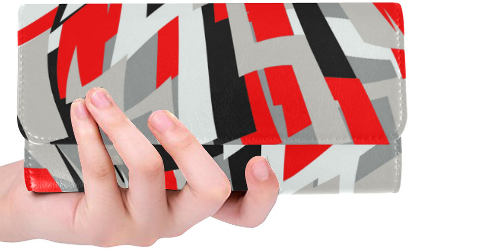 Red/Gray/Black abstract print wallet