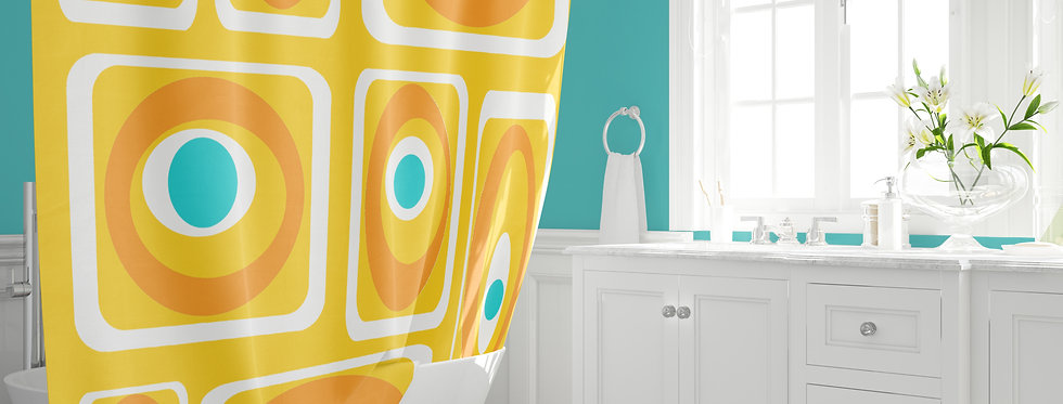 Mid Century Modern Shower Curtain - Clay