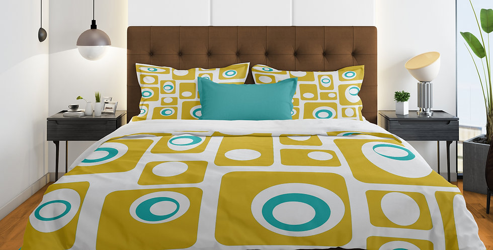 Mid Century Modern 3 pc Duvet Cover Set-  Alvin