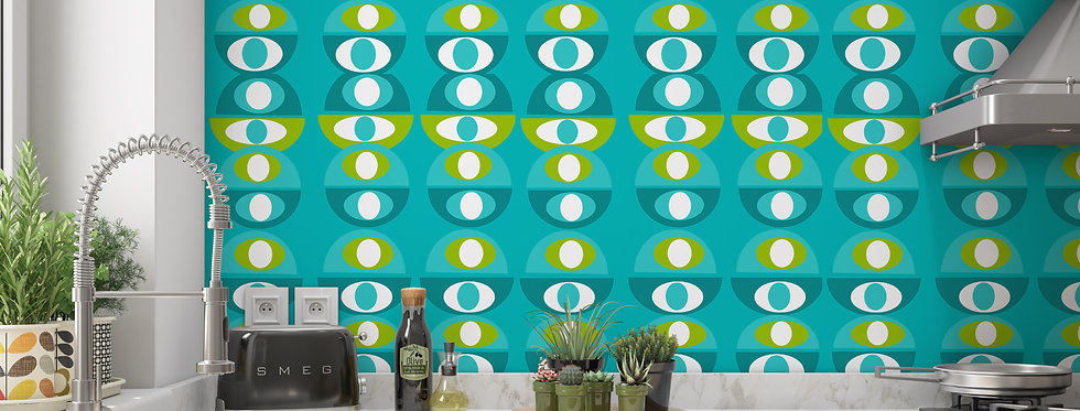 Blue Mid Century Modern Wallpaper Kitchen