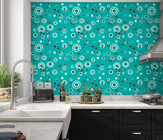 starburst wallpaper, modern peel & stick