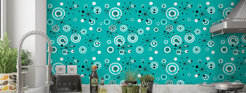 Turquoise Mid Century Modern Wallpaper Kitchen