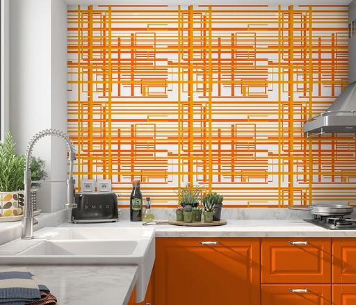 mid century modern wallpaper, modern peel & stick wallpaper, orange wallpaper, geometric w