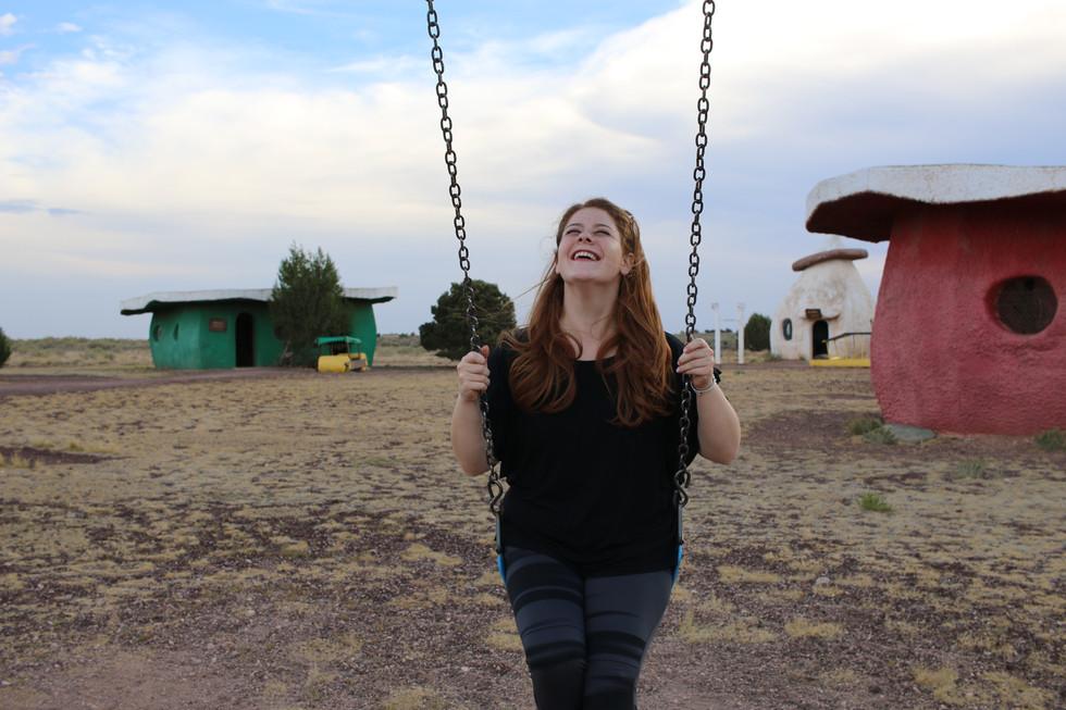 Sarah at Flinstone World