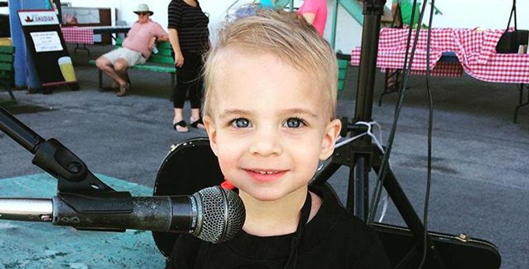 A future rockstar. This little dude rock