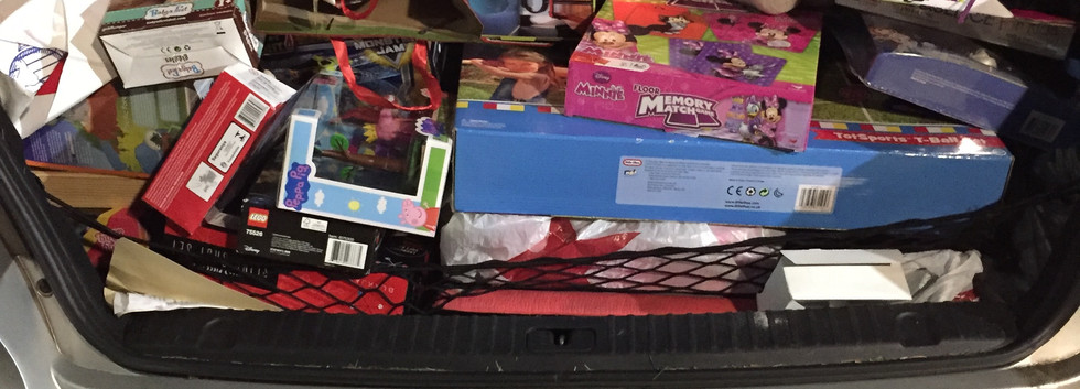 a carload of toys for tots!