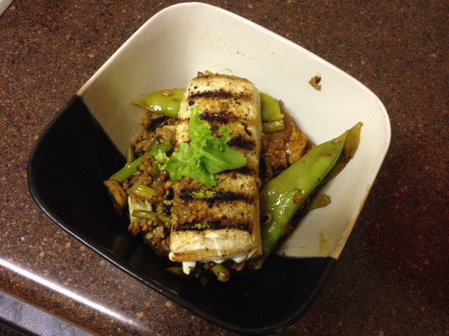 Grilled Mahi on fried rice