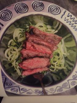 Seared Strip Steak w/rice noodles