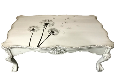 Hand Painted Dandelions on Painted Coffee Table