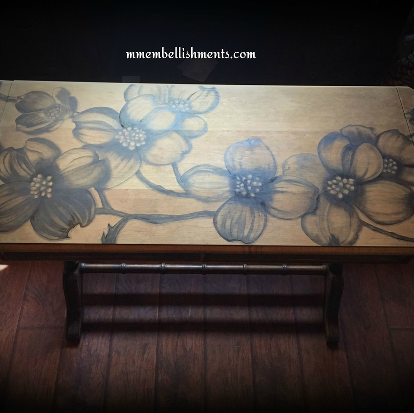 18 dogwood stained library table