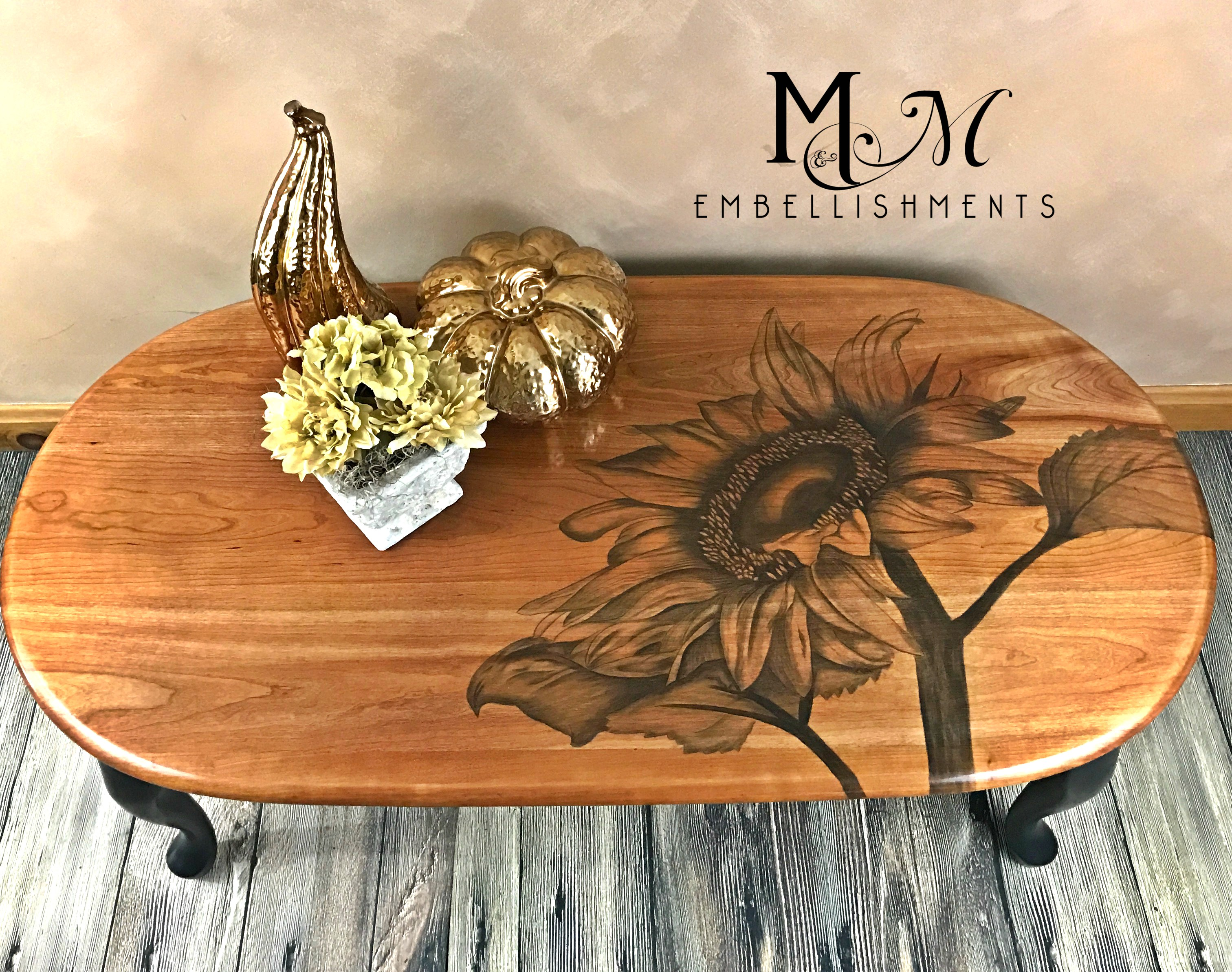 stain painting sunflower table