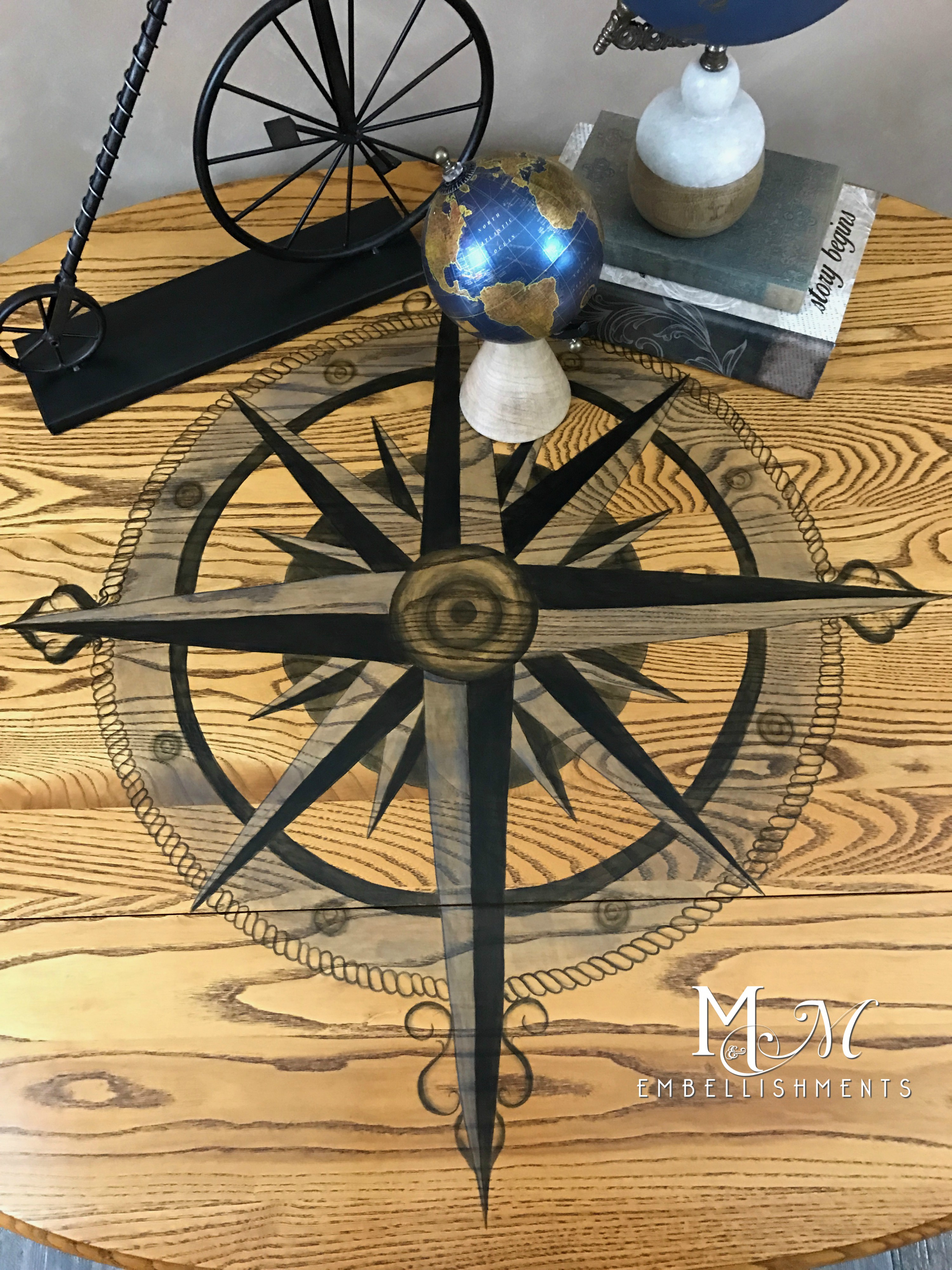 stain shaded compass rose
