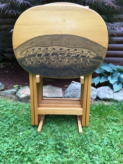 25 football hand stained tv table