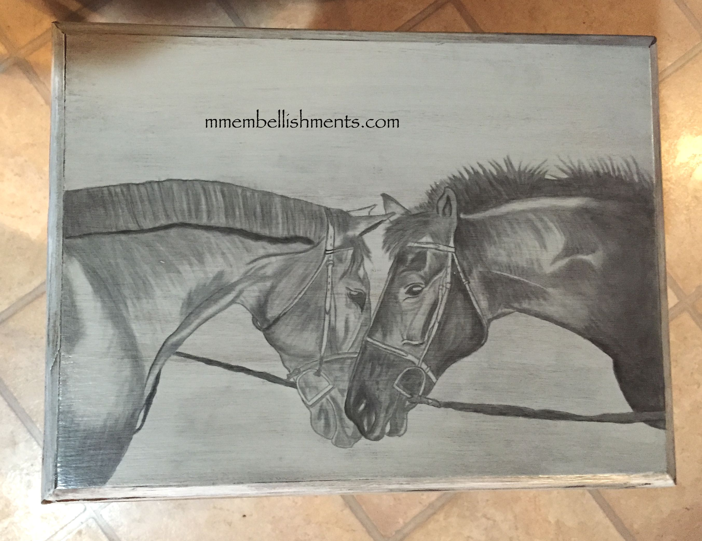 8.75 horse stained table
