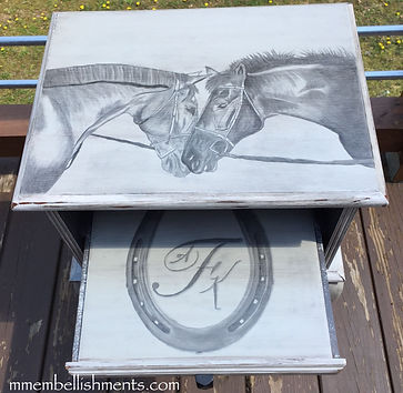 hand painted and staied horse accent table