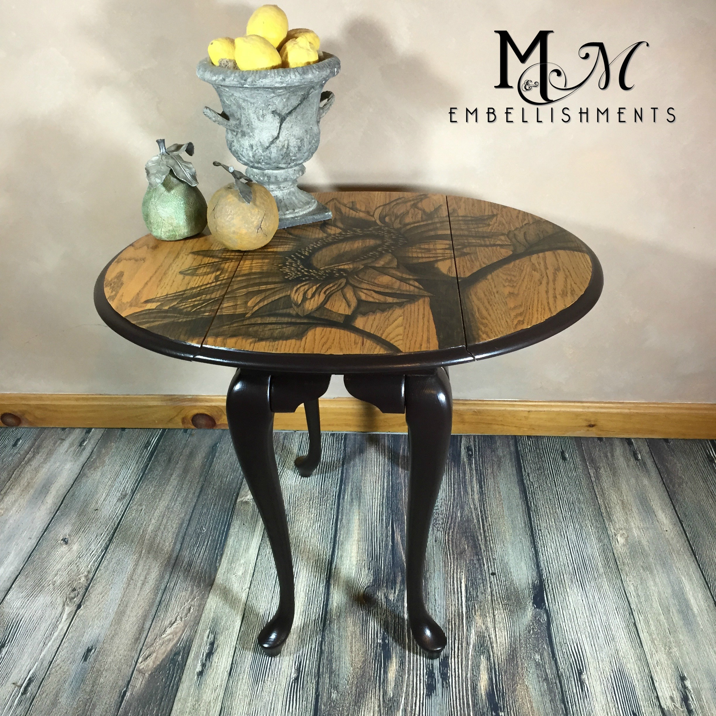 stain shaded sunflower  drop leaf table