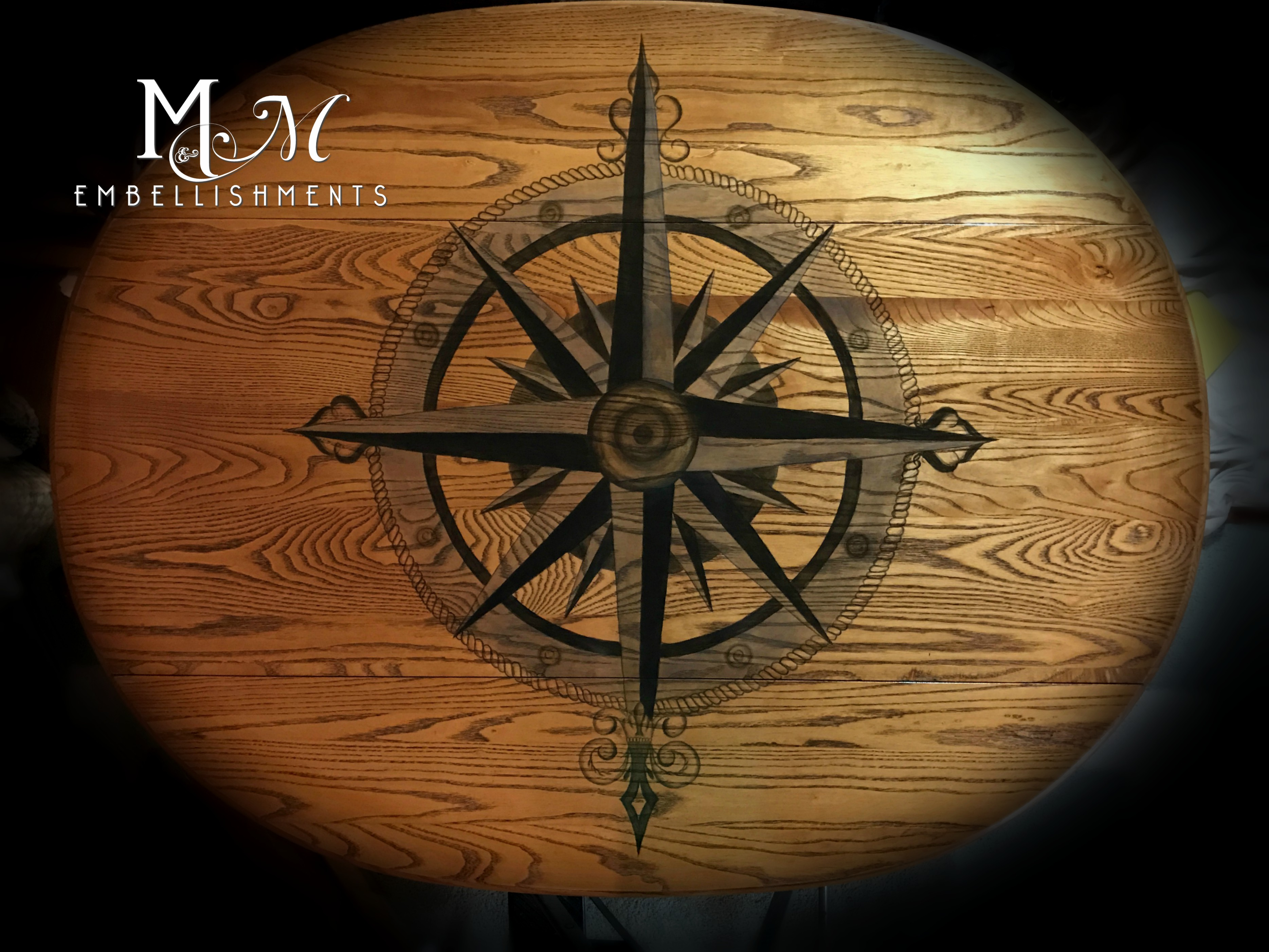 stain painting compass rose