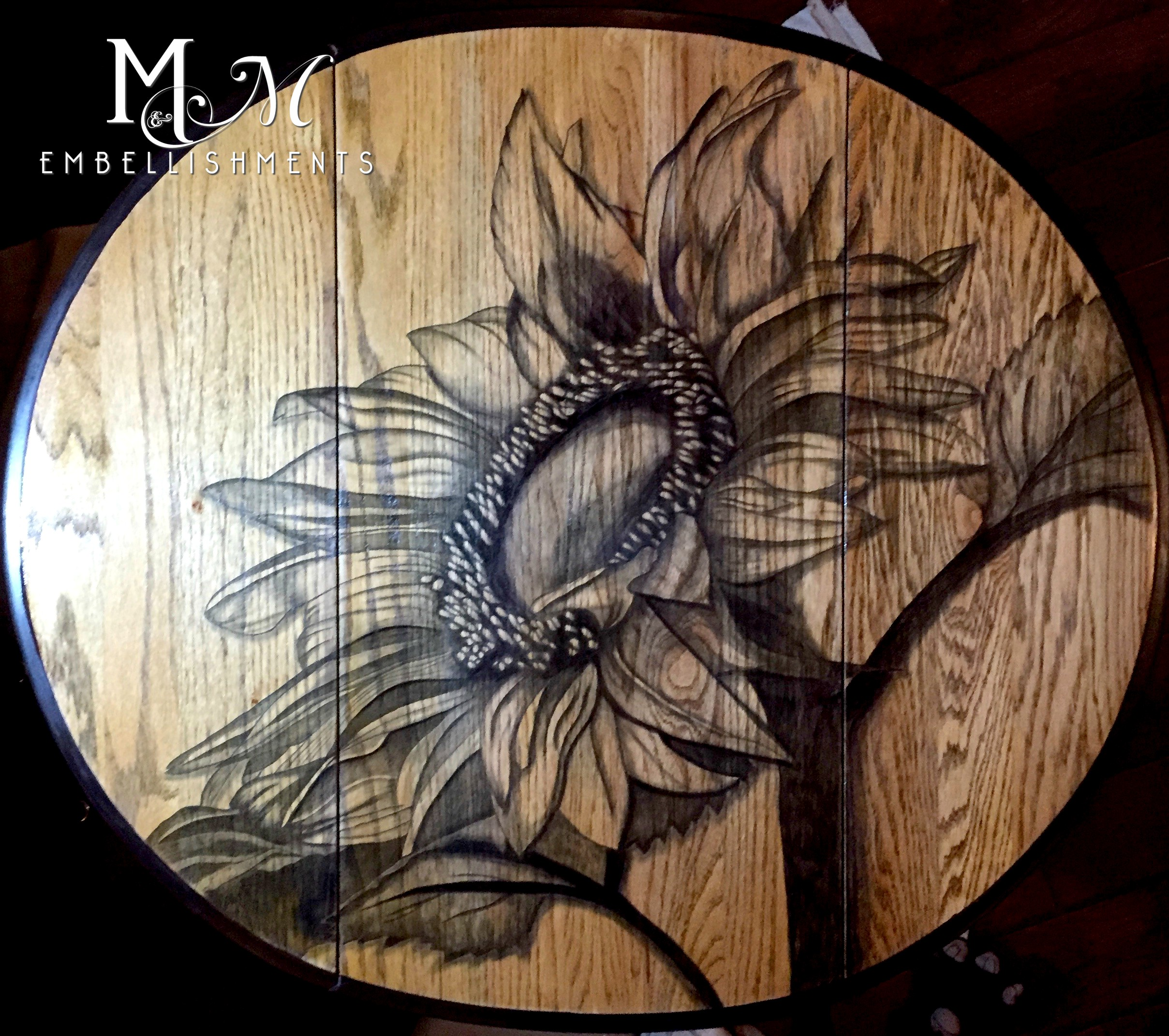 Hand Stained Sunflower Drop Leaf Table