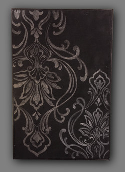 Hand Stained Damask on Painted CAnvas