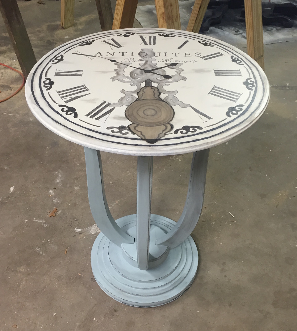 French Clock table using chalk paint and stain