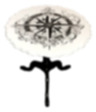 Tilt Top Table with hand stained compass rose