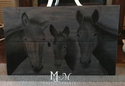 Hand Stained Mule on Barn Door