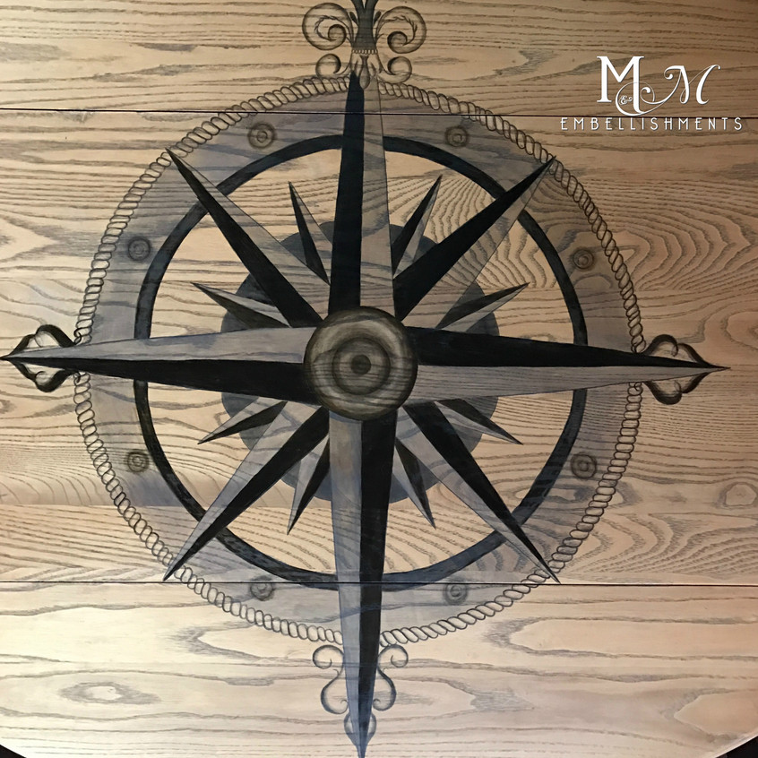 hand stained compass rose