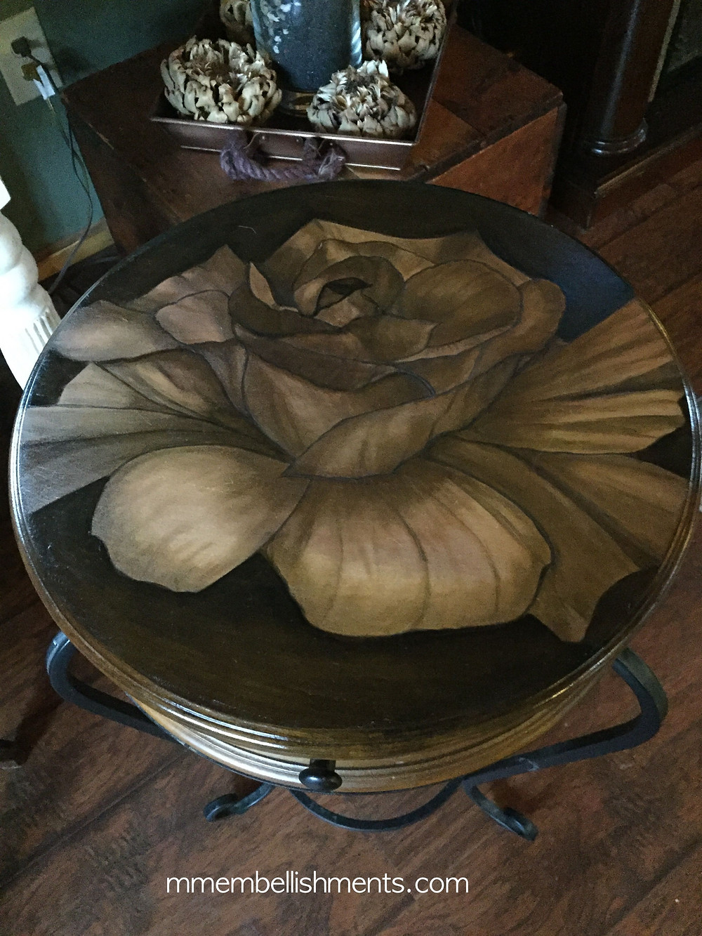 Rose stained accent table