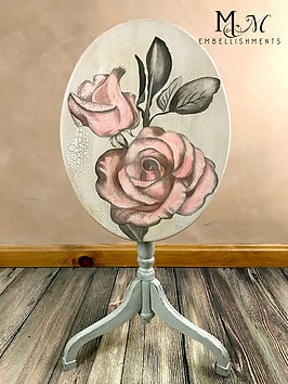 Vintage hand painted roses tilt-top table