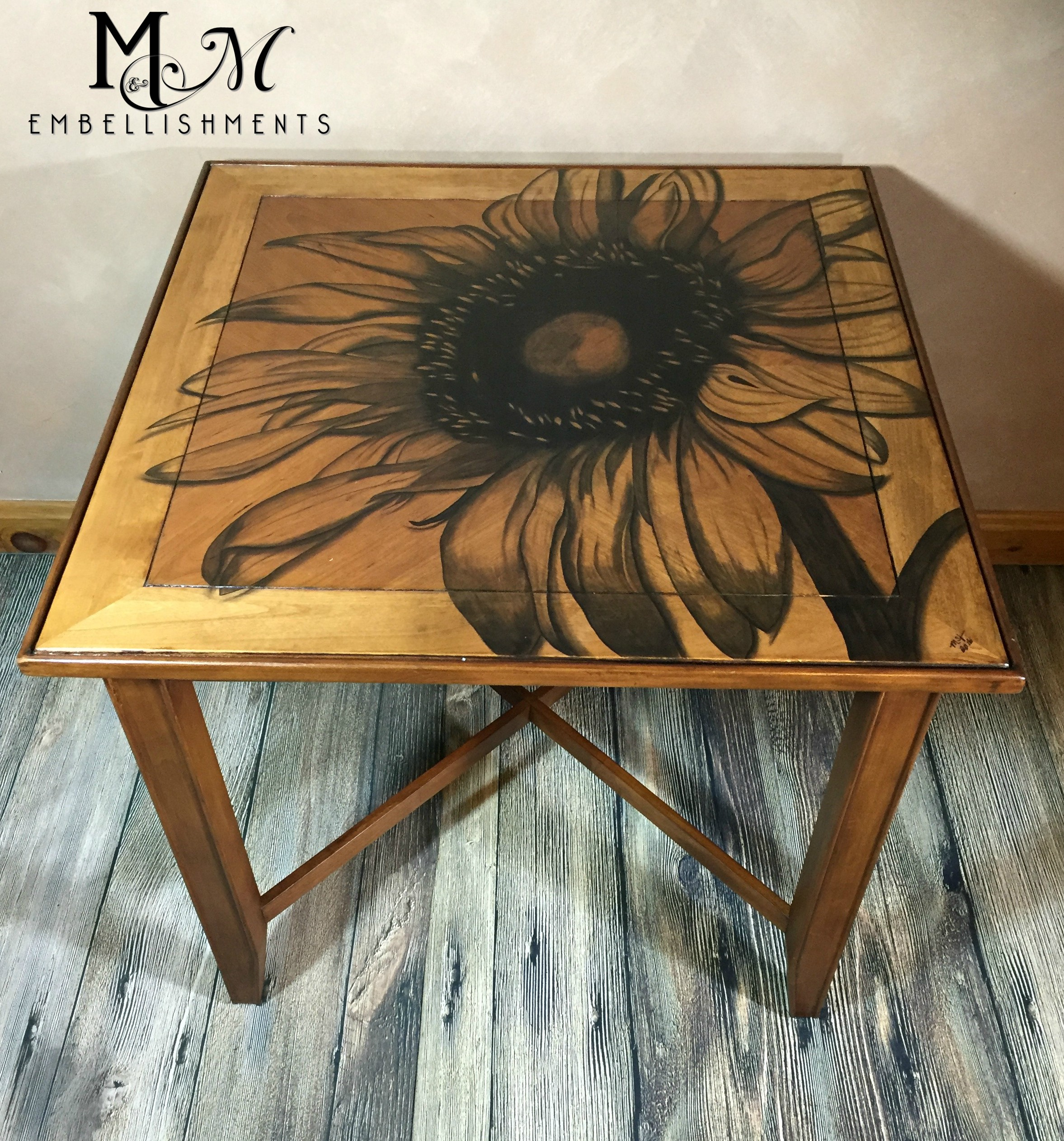 Hand Stained Sunflower table