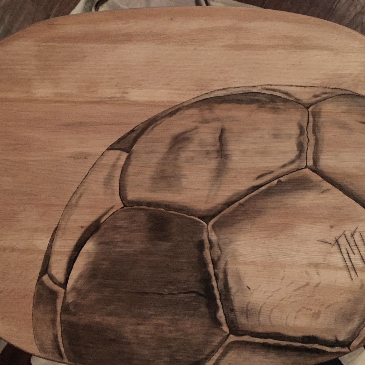 2 soccer hand stained tv table