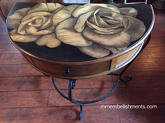 Stain painted roses on demi lune table