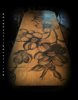 25 dogwood stained library table