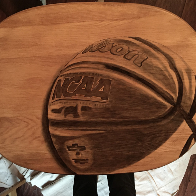 7 basketball hand stained tv table