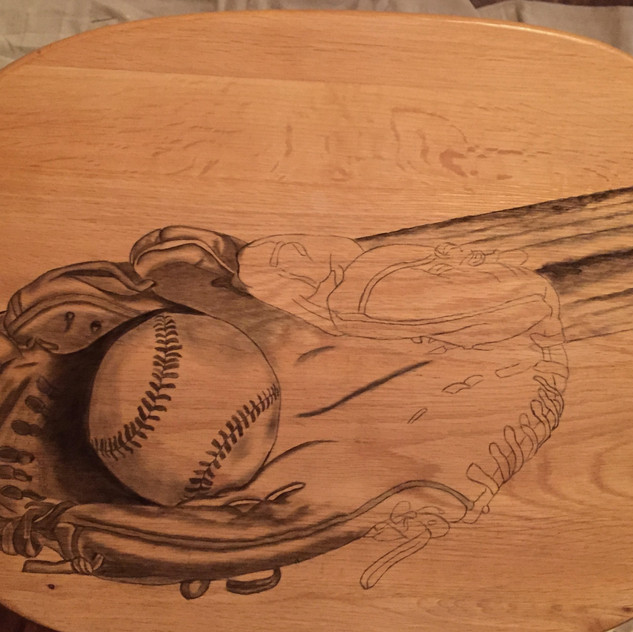 7 baseball stained tv table