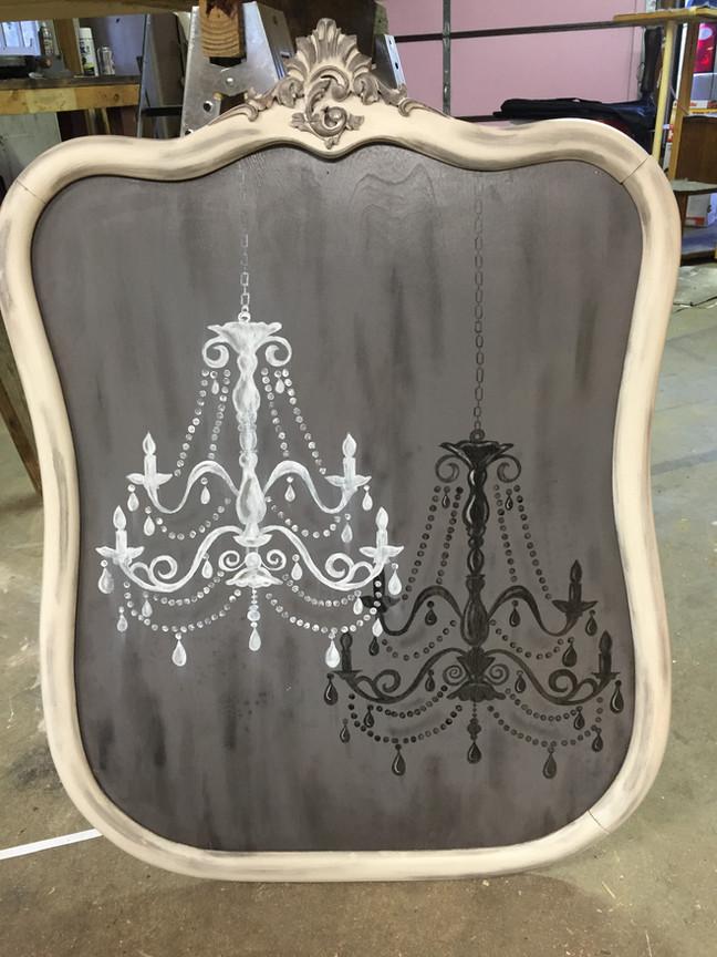 Vintage Mirror reinvented into Chandelier Art