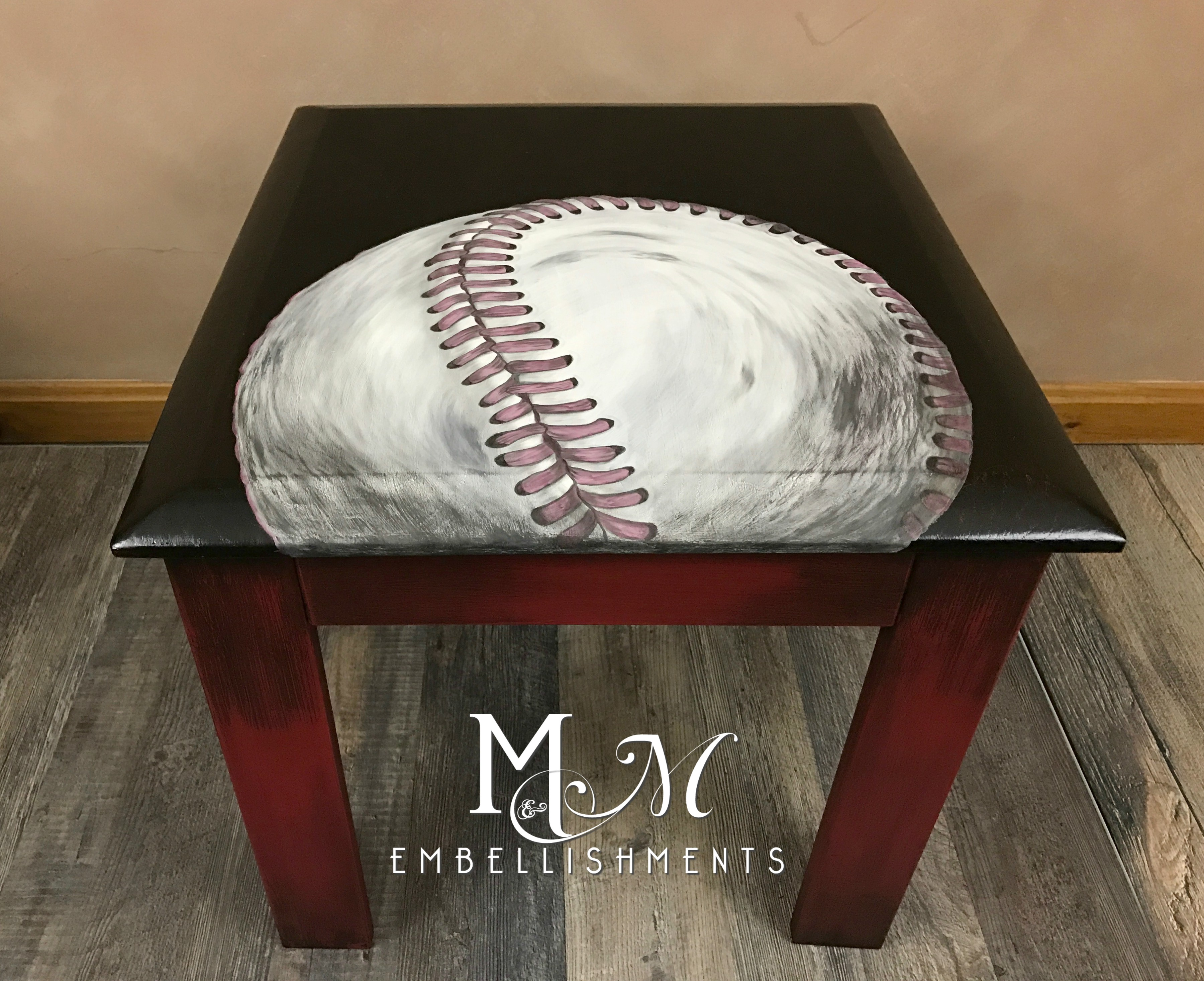 hand painted baseball table