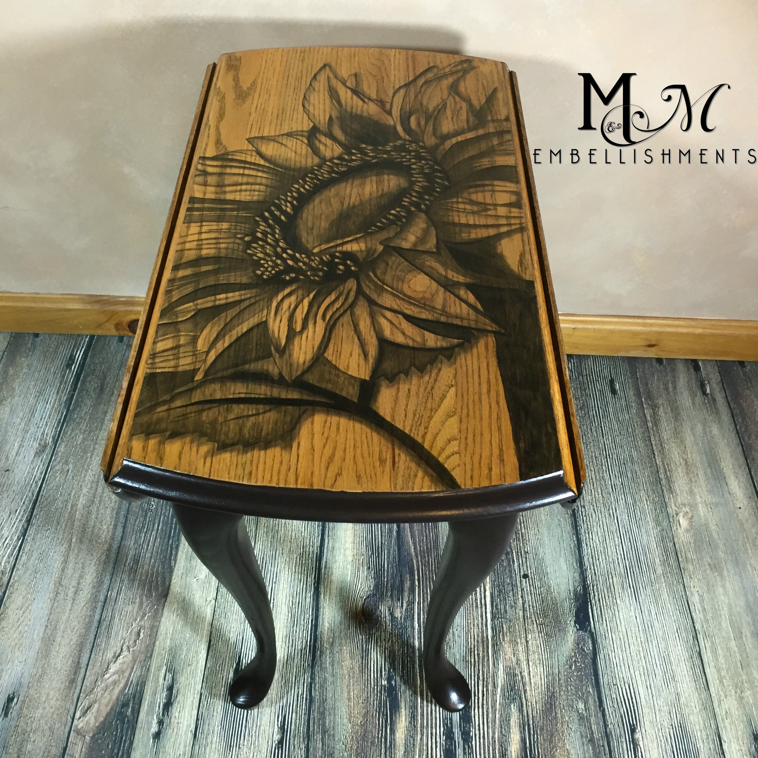 Sunflower Stain Painting Drop Leaf Table