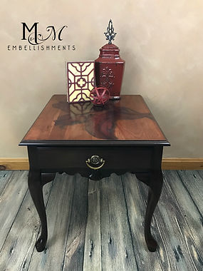 Hand Pained Red Lily End Table