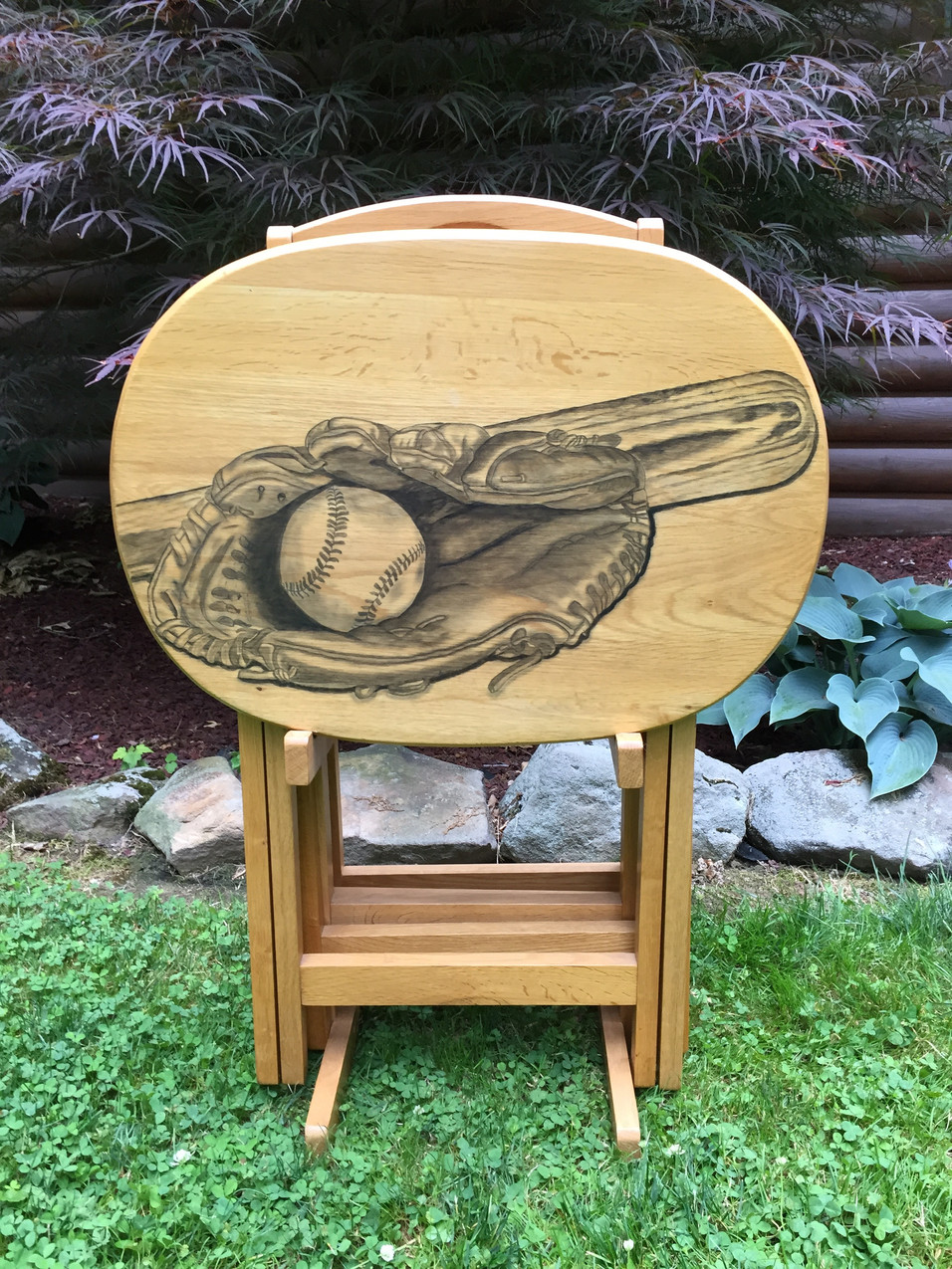 25 baseball hand stained tv table