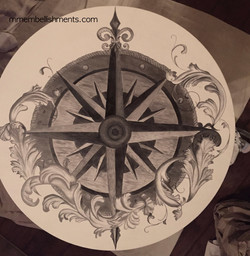 23 drum table compass rose