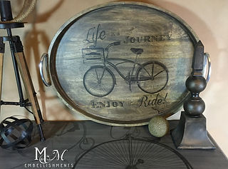 Wood Tray with hand paintd vintage bicycle