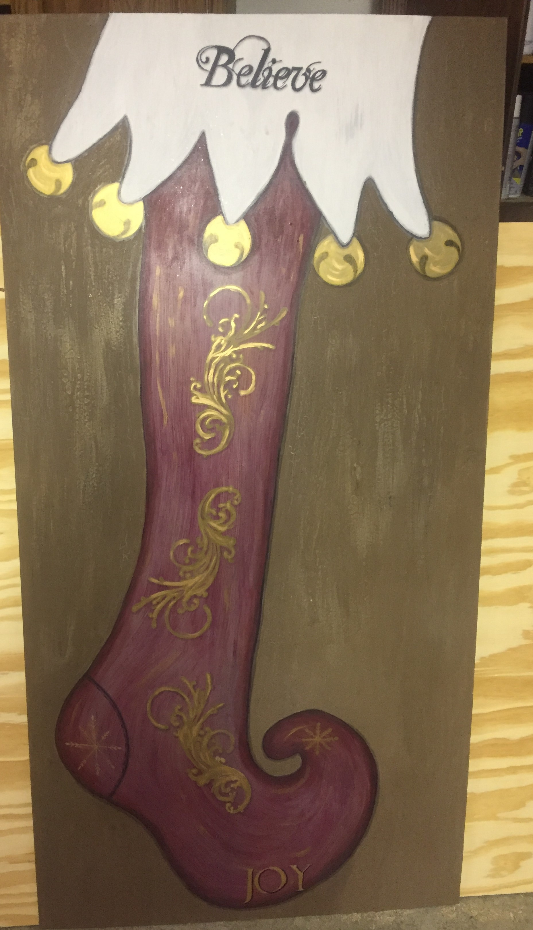 5 foot hand painted stocking