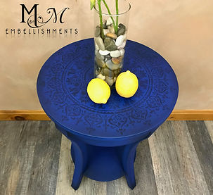 Hand Painted Bohemian Mandala End Table