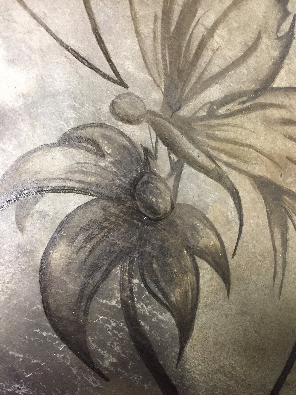 Butterfly/ flower on slate tile using stain